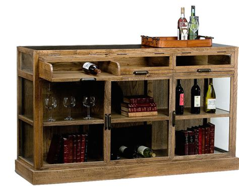 Furniture Wine Bar Cabinet Germain Oak Display Cabinet 3 Sections Rustic Wine And Bar Cabinets By Autumn Design