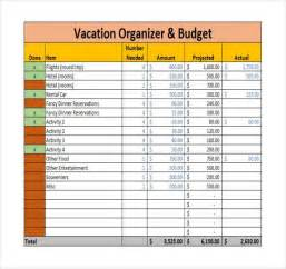Vacation Planner Template by 9 Vacation Budget Template Free Sle Exle Format