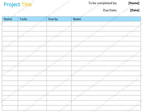 project listing template project to do list basic format list templates