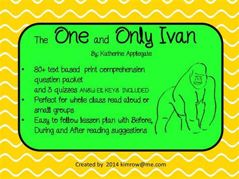 the one and only ivan book report the one and only ivan novel study comprehension questions