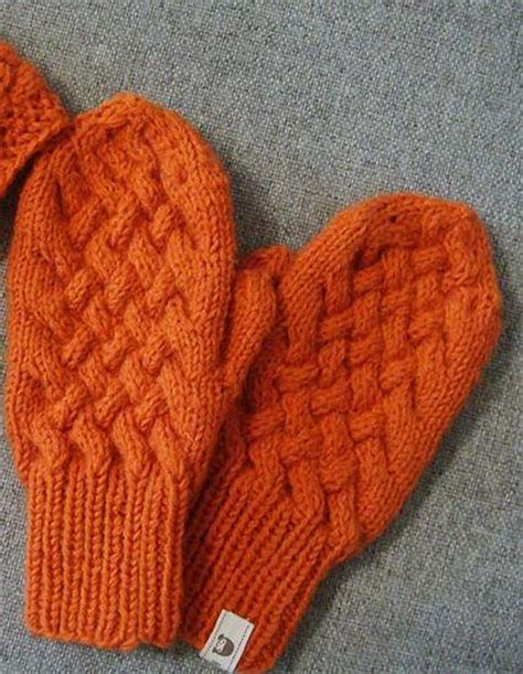 knitting pattern for mittens orange cabled knit mittens pattern allfreeknitting com