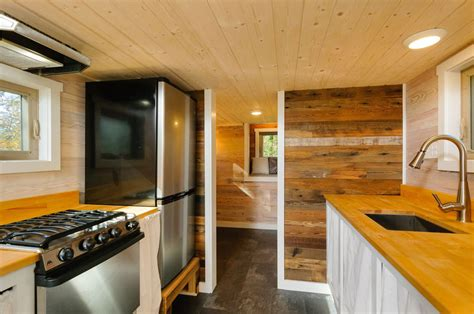 craftsman style tiny home featuring cedar siding  reclaimed wood interior idesignarch