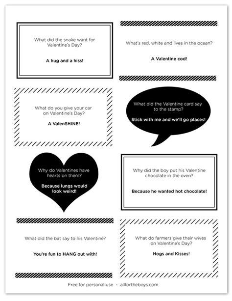 printable valentine jokes free printable valentine joke notes all for the boys