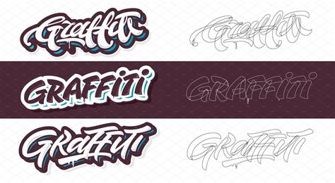 lettering templates four graffiti letterings illustrations creative market