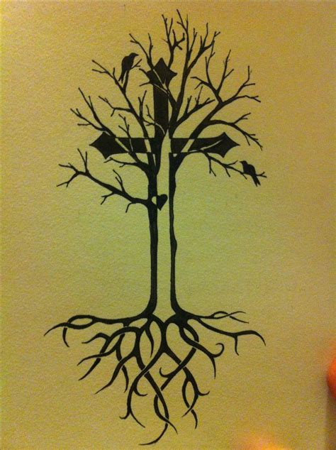tattoo life tree of idea with celtic roots and cross
