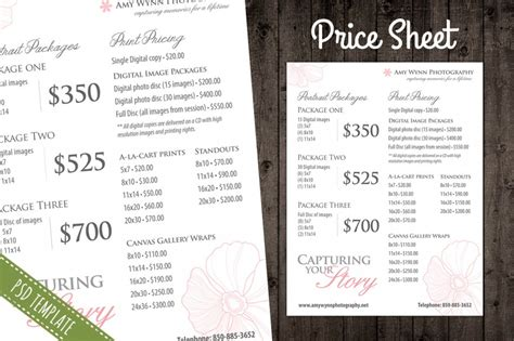 price sheet template modern photography price list template deals infoparrot