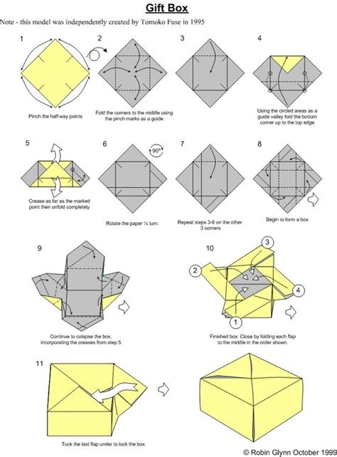 Origami Box Diagram - simple box 1 of square paper origami boxes