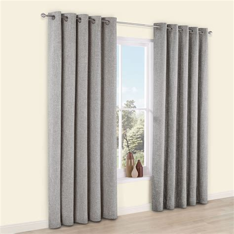 Thornbury Grey Chenille Eyelet Lined Curtains (W)228 cm (L