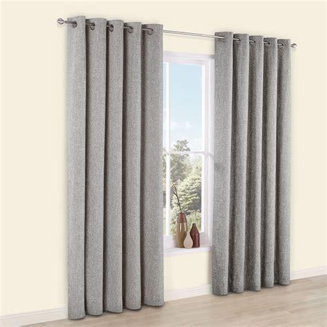 Thornbury Grey Chenille Eyelet Lined Curtains (W)228 cm (L