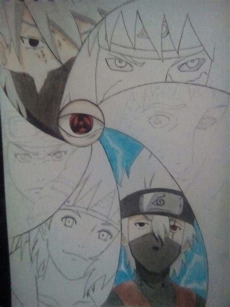 imagenes de kakashi a lapiz dibujo de obito kakashi y minato anime amino