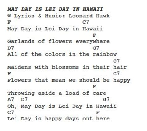 lyrics day is may day is day in hawaii ps learning ukulele keiki
