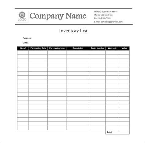 free inventory list template sle inventory list 30 free word excel pdf