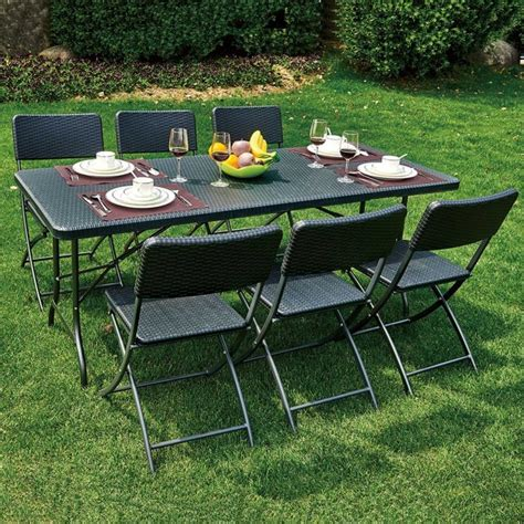 folding table and 6 chairs royalcraft palermo rectangular folding table and 6 chairs
