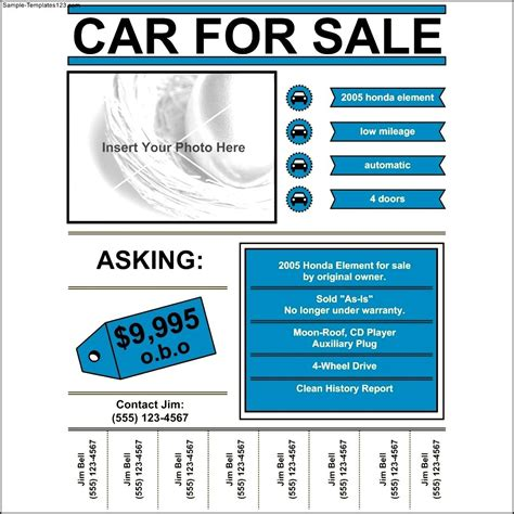 template for sale car for sale flyer template sle templates