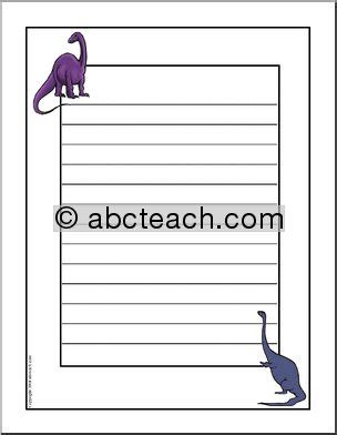 lined paper with dinosaur border writing paper dinosaur primary elem abcteach