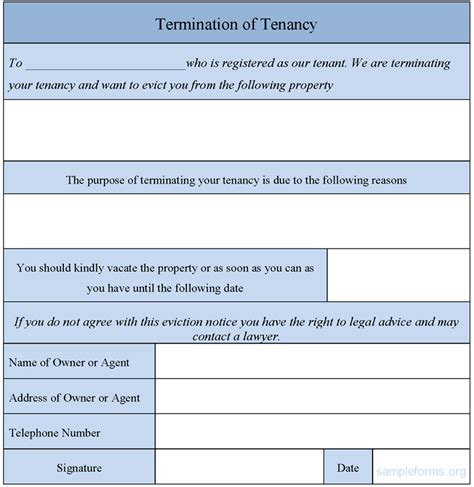 Termination Of Tenancy Form Sle Forms Termination Form Template