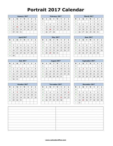 Calendar 2017 Printable Portrait Blank Calendar 2017 Monthly Printable Templates