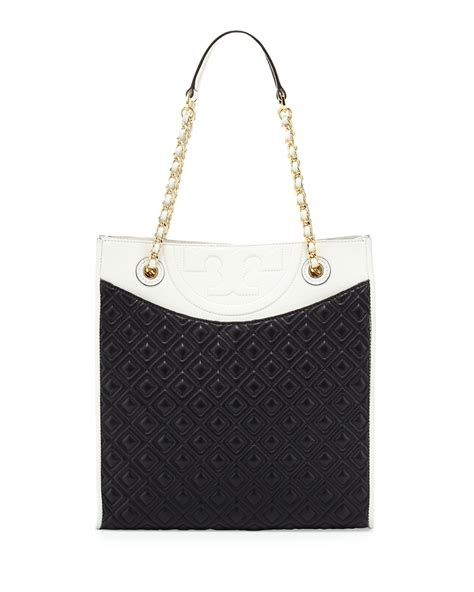 Burch Flemming Black burch fleming quilted box tote bag in black black white lyst