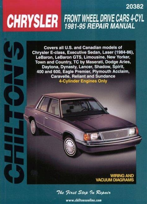 chilton car manuals free download 1995 dodge spirit auto manual 1981 1995 all chrysler brands 4 cylinder front wheel drive cars chilton manual