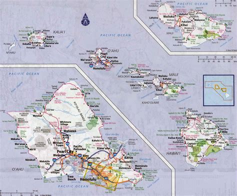 road map of hawaii large detailed road map of hawaii islands with all cities