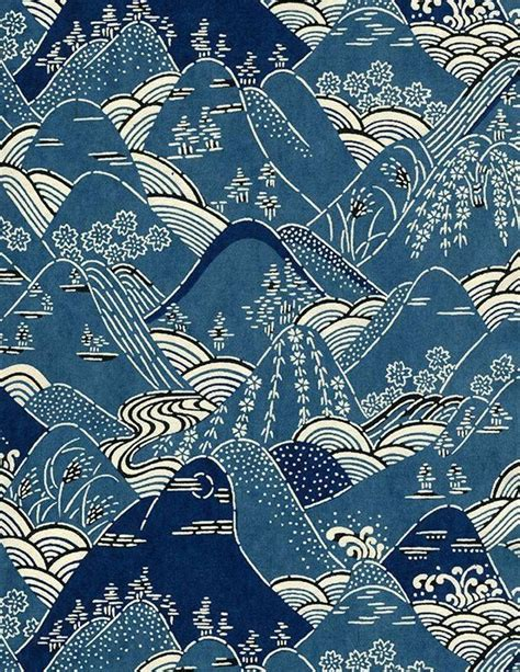 japanese ninja pattern mountains japanese kimono pattern design early 20th
