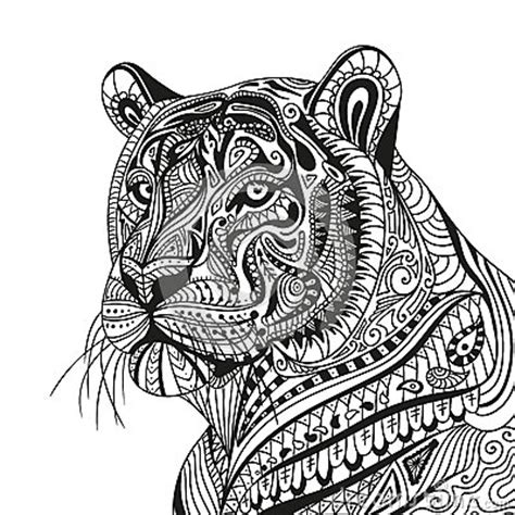 tiger mandala coloring pages abstract ornamental tiger stock illustration image 68590602