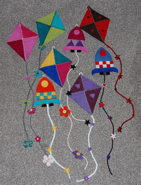 felt kite pattern colouful felt kites for hanging on a wall hours of fun