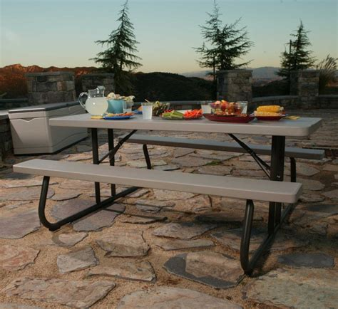 lifetime 6 ft folding picnic table with benches lifetime 22119 6 foot folding picnic table bench in putty