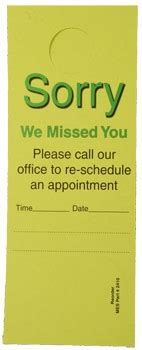 Free Sorry We Missed You Cards Templates by 2410 Doorhanger Quot We Missed You Quot 50 Pkg