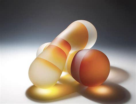 translucent glass sculptures split light color