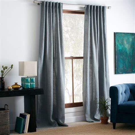 Blue Burlap Curtains Burlap Curtain Blue West Elm