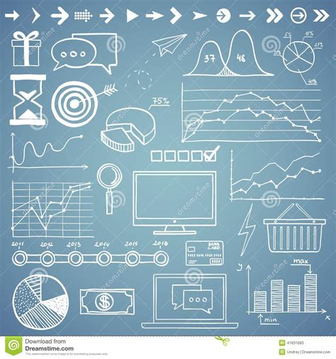 doodle element guide business finanse draw doodle elements graph stock
