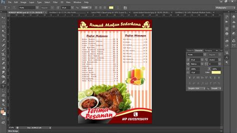 cara membuat design menu makanan cara membuat daftar menu makanan dengan photoshop youtube