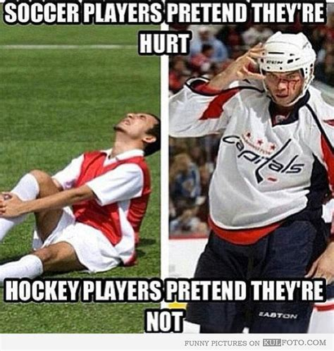 Sports Injury Meme - soccer players vs hockey players funny observation