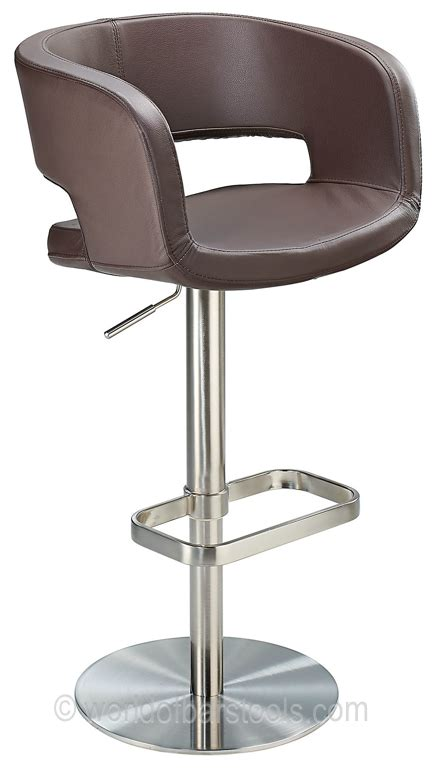 Real Leather Bar Stool Claudio Brushed Real Leather Bar Stool Brown