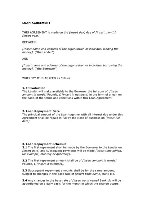 download basic loan agreement template for free formtemplate