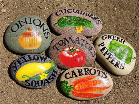 Painted Rocks For Garden Your Garden With Vegetable Signs On The Rocks Gift
