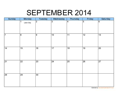 template for 2014 calendar 7 best images of free printable calendar september 2014