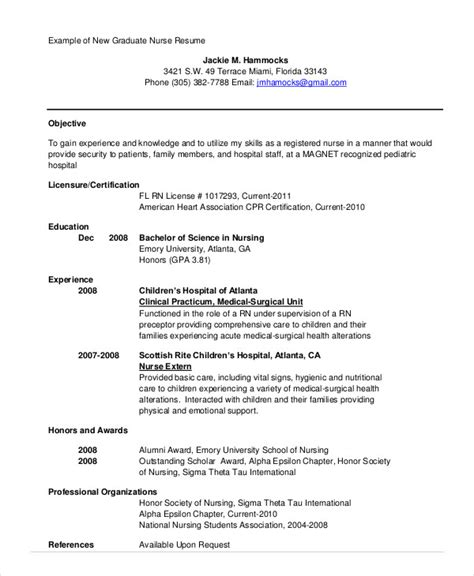 New Grad Nursing Resume by Nursing Student Resume Exle 10 Free Word Pdf