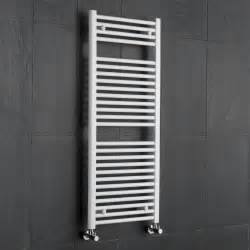 White flat ladder style bathroom heated towel radiator