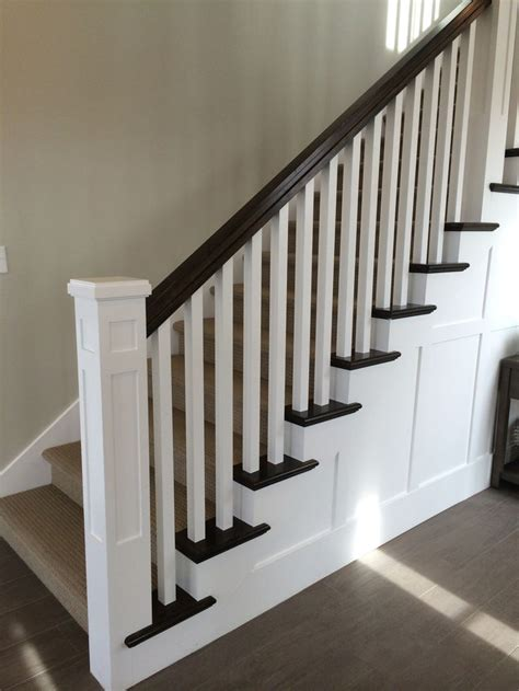 banister posts dark newel post square spindles painted google search