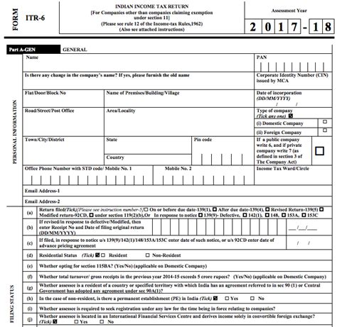 Mba Forms 2017 18 by For Filing Itr 6 For Ay 2017 18 Itr