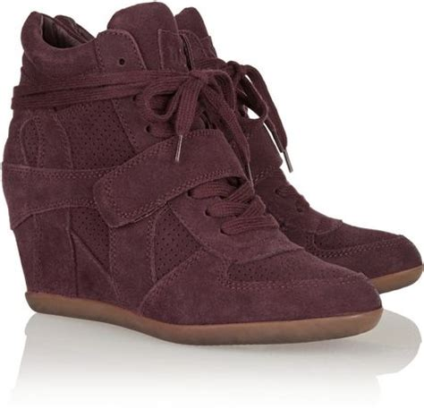 burgundy sneaker wedges ash bowie suede wedge sneakers in purple burgundy lyst