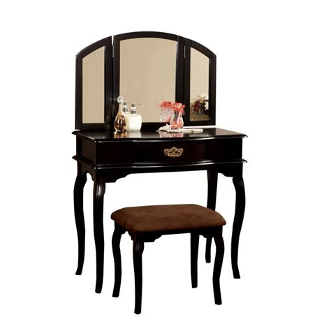 furniture of america lizzingly vanity set with stool in