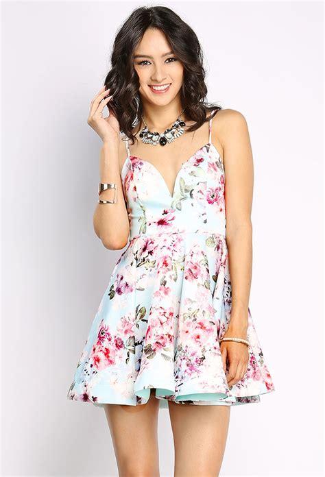 Zieasaiva Flowery Flare Mini Dress floral flare cami mini dress shop day dresses at papaya clothing