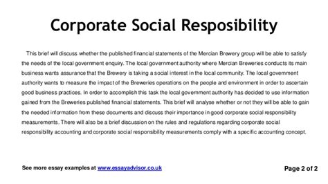 corporate social responsibility policy template essay advisor essay exle on corporate social
