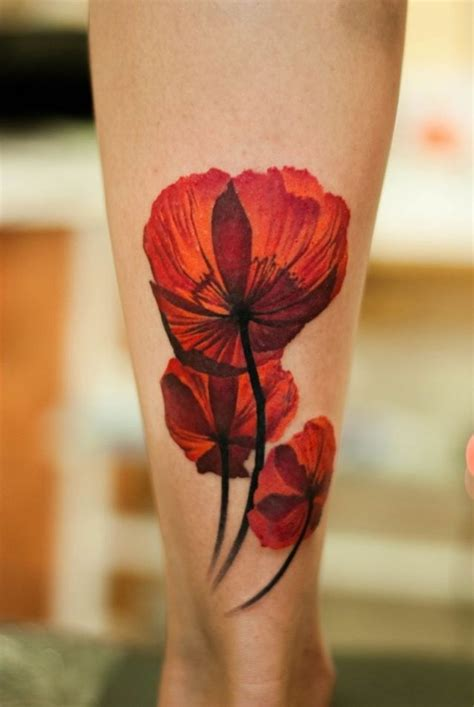 ankle cover up tattoos poppy flower best watercolor tattoos