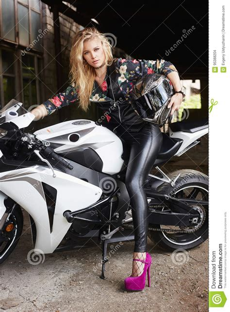 biker woman   motorcycle stock photo image  makeup