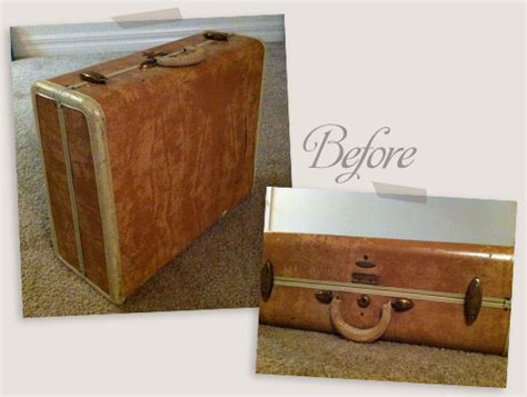 Handmade Suitcase - mod podge fabric covered suitcase diy hearts