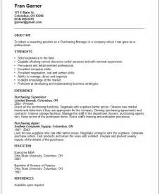 Manager Resume Objective Exles by Doc 638825 Purchasing Manager Resume Bizdoska